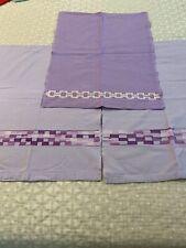 Vintage Hand Stitched Tea Towels Purple