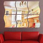 6PCS Wave Removable Home Acrylic Wall Mirror Sticker Art Vinyl Mural Decor Decal