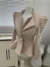 Women's Blazer Jacket Nude Beige Peplum Style Size UK Small 6