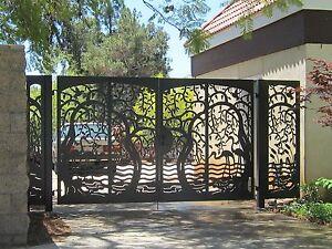 "Ornamental Garden Gate Wrought Iron 4/'x8/""/""x4/' 5/""/"" Pedestrian Gate Patio Yard"