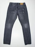 Samuel & Kevin mens Size 32w long leg 33L high rise slim straight fit grey jeans