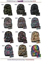 PREMESS School Backpack Rucksack Skull Camo Unicorn Space Cat Panda Goth Bag
