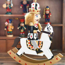 Wooden Poker King Nutcracker Riding Rocking Horse Collectible Puppet