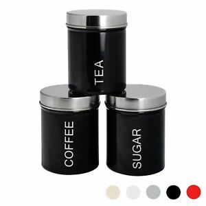 3x Tea Coffee Sugar Canisters Storage Set Kitchen Jars Containers Metal Black