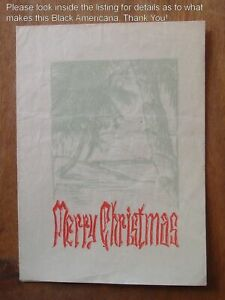 Old! BLACK AMERICANA CHRISTMAS CARD Some People Had No Boundaries Even For Xmas