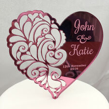 Personalised Paisley Wedding or Anniversary Mr & Mrs and Date Heart Cake Topper