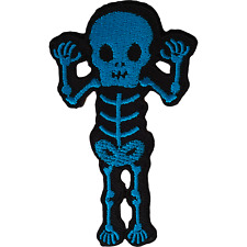 Skeleton Iron On Patch Sew On Mens Womens Boys Girls Clothes Embroidered Badge