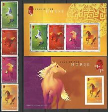 Hong Kong 2002 Year of the Horse set of 4 + 2 M/S MNH