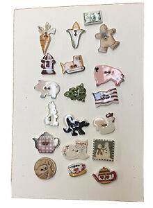 19 Unique Ceramic Buttons on  Collectors Button Board Cat, Frog Chick+SKU 576