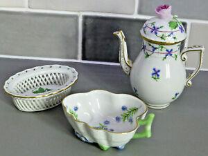 Vintage Herend Porcelain JOB LOT 3 Pieces Miniature Coffee Pot, Basket and Dish