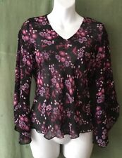 Women's Top, 10, Ann Brooks, Petite, Floral, Shaped Sleeves.