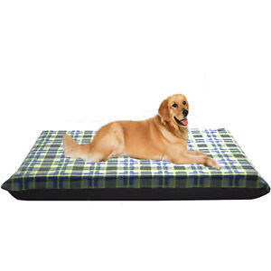 Large Waterproof Dog Bed Mattress, Green Check Removable Washable Dog Bed Cover