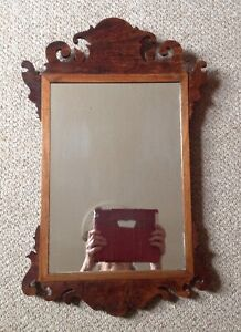 Antique Chippendale Style Fretwork Wood Wall Mirror