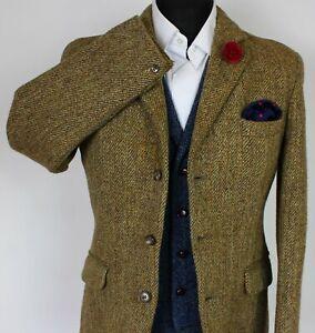 Harris Tweed Blazer Jacket Brown Hardy Amies 38R VINTAGE 1960's TWEED X233