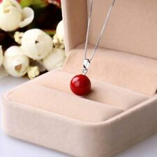 New Fashion 14mm Genuine Coral Red South Sea Shell Pearl Pendant Necklace 17""