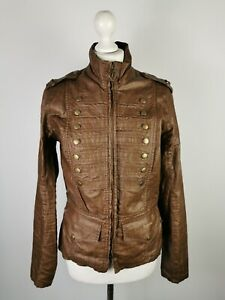 Barbour Ladies Brown Duralinen PU Coated Brigade Military Style Jacket, UK 10