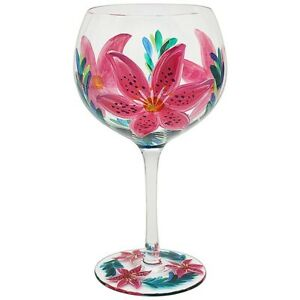 New In Hand Painted Gin & Tonic Large Lily Balloon Glass Boxed LP45880