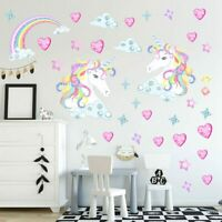 Magical Unicorn Horse Rainbow Stars Hearts Childrens Bedroom Wall Stickers HoVm3