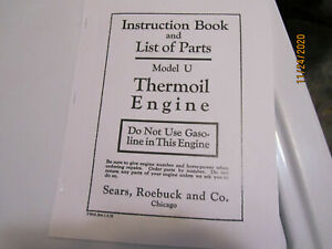 1920 Sears Economy Model U Thermoil Engine  Instruction/Parts Catalog/Manual