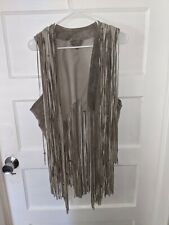 New listing Handmade Leather Fringe Vest, Beaded And Signed Size M to Xl