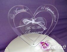 Engraved Heart Acrylic Personalised wedding engagement cake toppers decoration