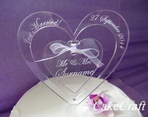 Engraved Heart Acrylic Personalised wedding engagement cake toppers decoration