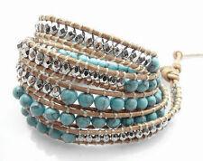 Natural Turquoise Silver Beads on Genuine Leather 5 Wrap Fashion Bracelet Bangle