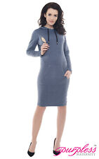 Purpless Maternity Pregnancy and Nursing Hooded Bodycon Dress With Pocket B6211 Jeans Melange UK 10