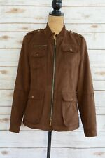 Kenneth Cole New York - Brown faux SUEDE full zip jacket SNAP pockets, size S
