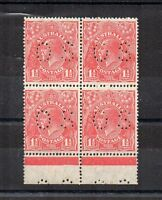 Australia 1926-30 1 1/2d Sideface Official OS puncture MNH block of 4