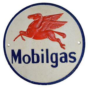 Mobilgas Fuel Round Cast Iron Sign Plaque Wall Garage Petrol Workshop Shop