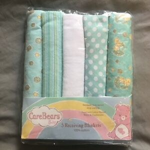 Care Bears Baby 2008 New 5 cotton flannel baby receiving blankets NOS