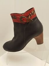 L'Artiste Veronika By Spring Step Black Red Leather Boots 40 EU / 9 US Women EUC