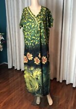 "44"" XL Cotton Nightie Indian Housecoat Ladies Summer Night Dress Green B16"