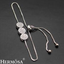 "Hermosa® New 925 Sterling Silver White Topaz. Adjustable Pull-Tie Bracelet 3-9"""