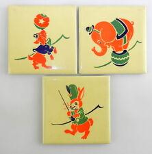 """3 Art Deco LITTLE CIRCUS SERIES 4.25"""" TILES PLAQUES Dog Elephant Rabbit  T09"""