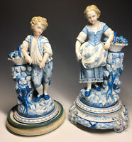 Pair of Antique 19th C. KPM A.W.Fr.Kister Scheibe-Alsbach Male-Female Figurine