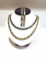 "Hugs and Kisses Gold & Two Tone Stampato 2 sets Necklace 18"" Bracelet Set"