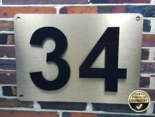 Hausnummerschild Edelstahl V2A mit Zahlen / Buchstaben aus Acryl 250 x 180mm
