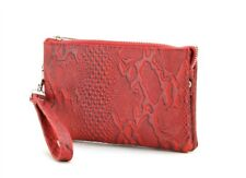 Genuine Leather Wristlet Wallet Travel Clutch With Zipper Money Compartment Red