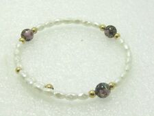 """Freshwater Pearl and Cloisonne Bracelet, Coiled, 7.5"""", 8mm Beads"""