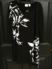New Rare! Chico's Knit Kit Abstract Rose Black White Tunic Top 3 = XL 16 18 NWT