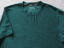 Reebok Men's Stretch Polyester S/S Crew Neck Heather Green T Shirt - Medium