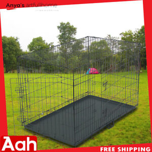 """Extra Large 48"""" Dog Crate Kennel Folding Pet Cage Steel With 2 Doors"""