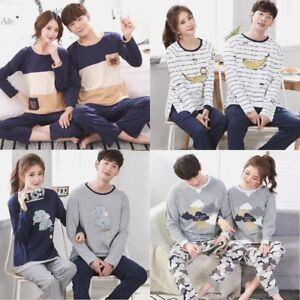 Herren Pyjama-Set Paar Damen Baumwolle Langärmelig Heim Bekleidung Liebhaber