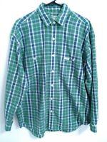 Men's Size Medium Vintage Guess Green Blue Plaid Long Sleeve Button Up Shirt