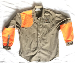 Columbia Upland Bird Pheasant Blaze Orange Long Sleeve Button Up Hunting Shirt L