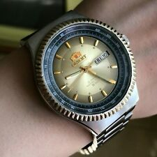 Orient Automatic Water Resist 5 Bar English German Day Date Tachymeter Watch Men