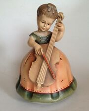 Anri/Italy wood carved music box/ young girl&bass fiddle/Swiss Thorens. Wow!