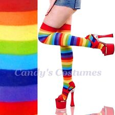 RAINBOW Striped OVER-THE-KNEE Costume SOCKS Thigh High ROLLER DERBY Bright 5-8.5